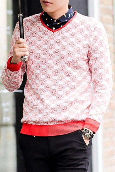 Slimming Trendy V-Neck Ethnic Totem Embroidered Long Sleeve Cotton Blend Sweater For Men