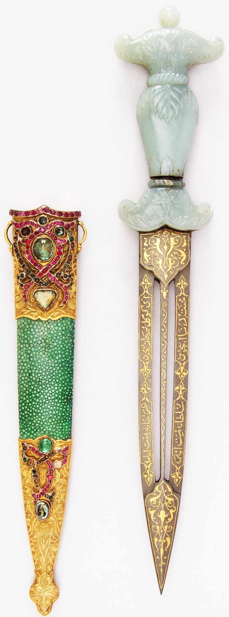 Ottoman dagger, 18th century, jade, steel, gold, copper, shagreen, gemstone, L. with sheath 14 5/16 in. (36.4 cm); L. without sheath 13 5/16 in. (33.8 cm); W. 2 1/2 in. (6.4 cm); Wt. 9.1 oz. (258 g); Wt. of sheath 3.7 oz. (104.9 g), Met Museum, Bequest of George C. Stone, 1935.