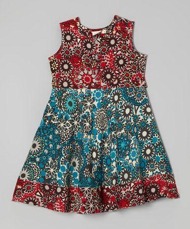 Look at this #zulilyfind! Blue & Red Floral A-Line Dress - Toddler & Girls by Yo Baby #zulilyfinds