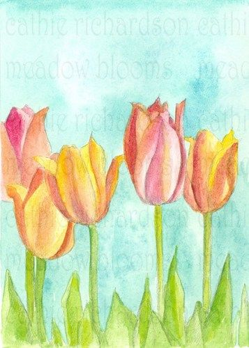 A spring flower painting featuring a garden of colorful pink and yellow tulip flowers in soft sherbet shades painted in watercolor with spring green leaves and robins egg blue wash background.   This