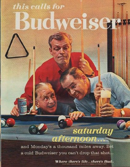 "Description: 1963 BUDWEISER vintage magazine advertisement ""saturday afternoon"" -- this calls for Budweiser ... saturday afternoon ... and Monday's a thousand miles away. Bet a cold Budweiser you can't drop that shot ... Where there's life ... there's Bud ... King of Beers, Anheuser-Busch -- Size: The dimensions of the full-page advertisement are approximately 10.5 inches x 13.25 inches (26.75 cm x 33.75 cm). Condition: This original vintage full-page advertisement is in Excellent Condition…"