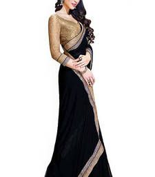 Buy Black Lace Work Georgette saree with blouse party-wear-saree online