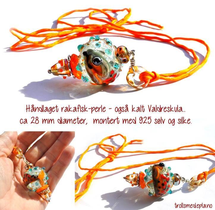 Lise Nilsen Håndlaget glassperle med ørret Valdreskula - rakafisk-kule