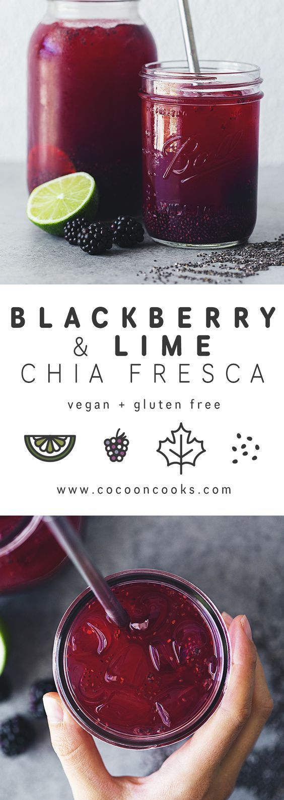 Quench your thirst with this Blackberry & Lime Chia Fresca! Delicious, refreshing and healthy. #vegan #recipe