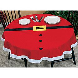Santa Suit Tablecloth just a site to buy it, no tutorial.  but not hard to figure, just get a red table cloth, put some white trim and black fabric for the belt and buttons and gold/yellow for the buckle