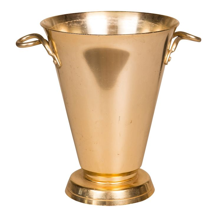 Bolsa Champagne Bucket at Found Vintage Rentals. Tapered brass champagne bucket with twisted handles. Perfect for holding a bottle or filled with florals.