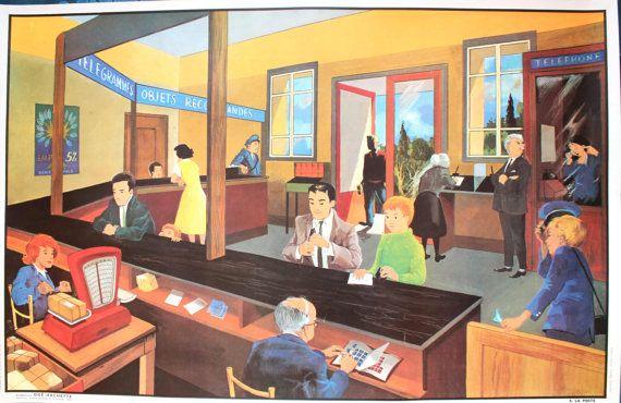 Vintage  Affiche scolaire double face des années 1960 par LeRetroMarket