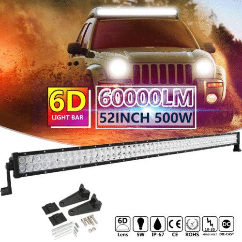 52 inch 500W Spot Flood Combo OSRAM LED Work Light Lamp Bar Offroad SUV Boat US