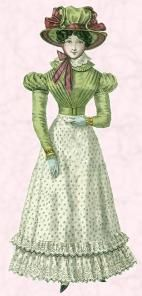 1825 fashion at the beginning of Furs and Fevers. Angelique, Dominique's mistress in Montreal, dresses like this. Lady Cook dresses in this style but the material is black crepe.