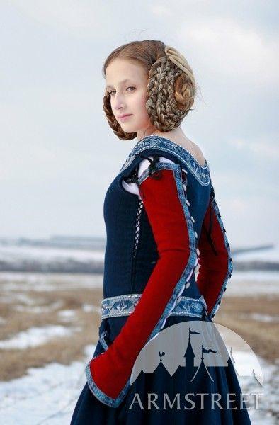 """Mittelalter Kleid """"Rote ärmel"""""""