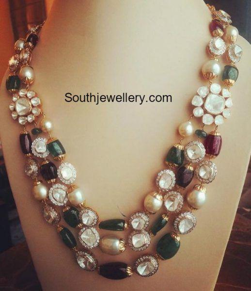 Polki Diamonds and Beads Mala