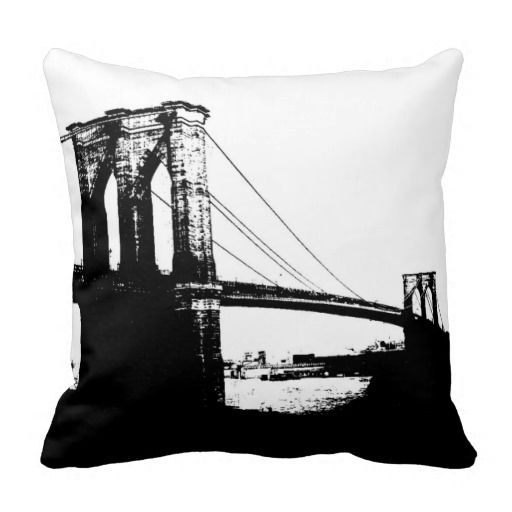 Black white brooklyn bridge new york city pillow