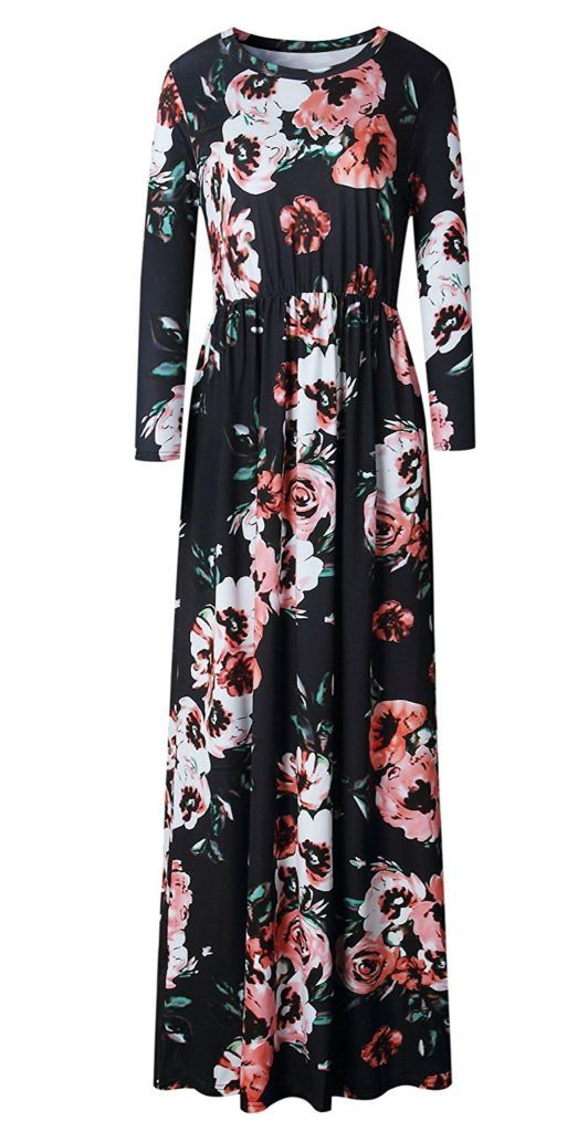 590376c78c LiMiCao Women Fashion Printed Long Dress Three Quarter Sleeve Retro Vintage  Flower Casual Floor Length Maxi Dress (S-XXXL)