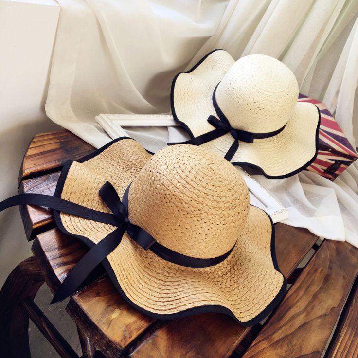 [La MaxPa]Elegant fashion summer hats for women bowknot wide large brim Wave edge straw beach hat girl Travel casual sun hats
