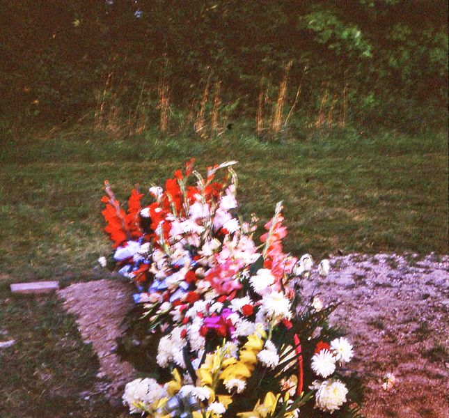 Mother's (Patricia Burnie) grave at St. Anthony's Cemetery, Virginia, Ontario. Ohoto taken 1966.