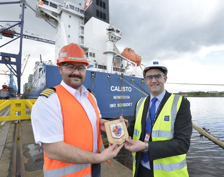Largest vessel ever handled by the Port of Tyne - the Calisto Monrovia - in port.