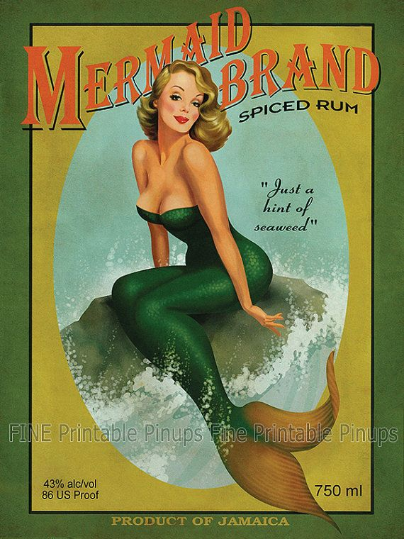 """Vintage Pinup Art Girl // Aged Mermaid Rum Ad Poster // 36""""x27"""" Printable Digital Download // Easy to Size Down"""