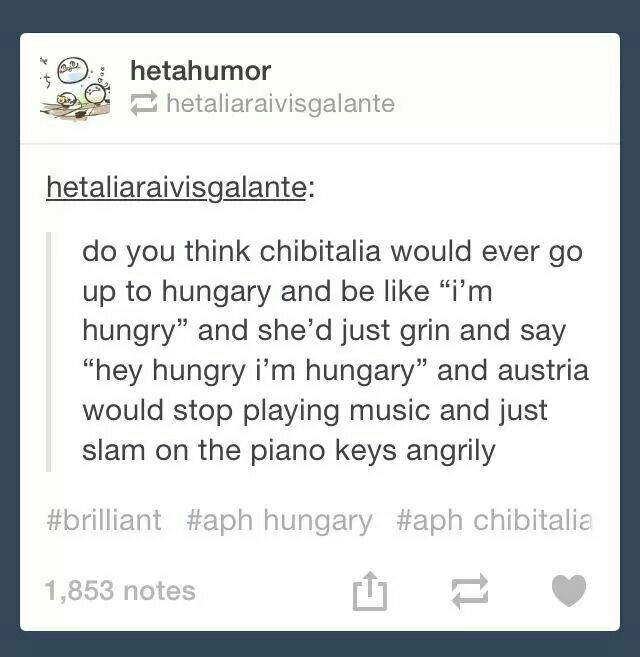 That would probably happen chibi and hungary would giggle while austria was bein a sore