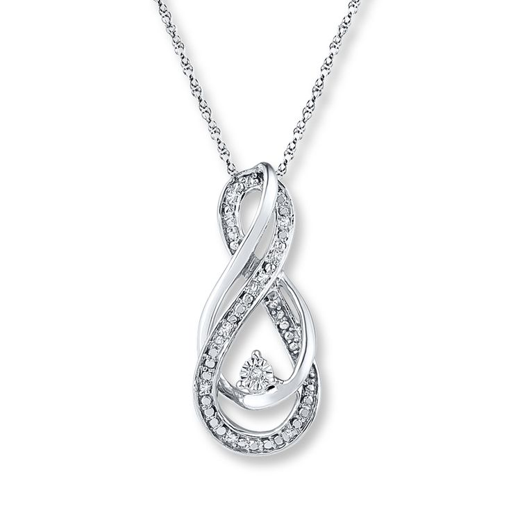 Infinity Symbol Necklace Diamond Accents Sterling Silver