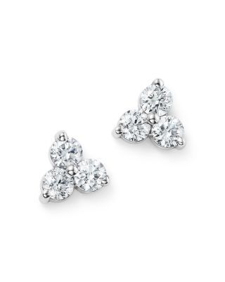 Diamond Three Stone Stud Earrings in 14K White Gold, 0.60 ct. t.w. – 100% Exclusive