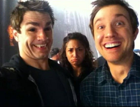 Way too serious!  Being Human SyFy - Sam Witwer, Meaghan Rath, Sam Huntington :):):)