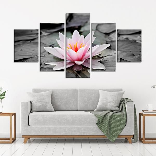 Lotus Pop Multi Panel Canvas Wall Art Elegant Wall Art Flower Wall Decor Country Cottage Decor