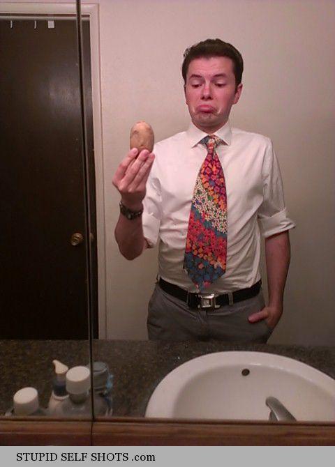 Bathroom Mirror Potato Self Shot