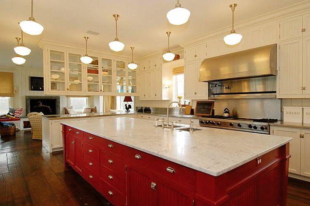 red kitchen island