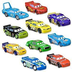 Piston Cup Die Cast Disney Cars Set -- 10-Pc. by Disney. $89.00. Die cast metal. Your Cars fan will love this collection!. Cars 4'' L. Ages 3+. Imported. Set Includes:Lightning McQueenDinoco McQueenWinford Bradford RutherfordChick HicksKevin ShiftrightTodd ''The Shockster'' MarcusDirkson D'Agostino Slider PetrolskiLee RevkinsThe KingAdditional Information:Die cast metal Cars 4'' LAges 3+Imported