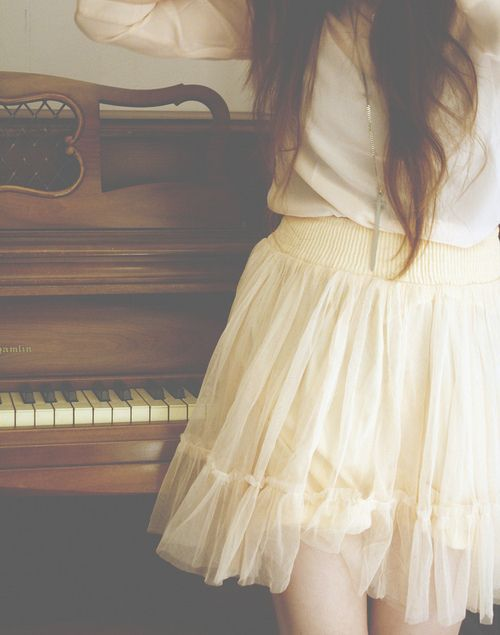 delicate, feminine, girl, hair, piano