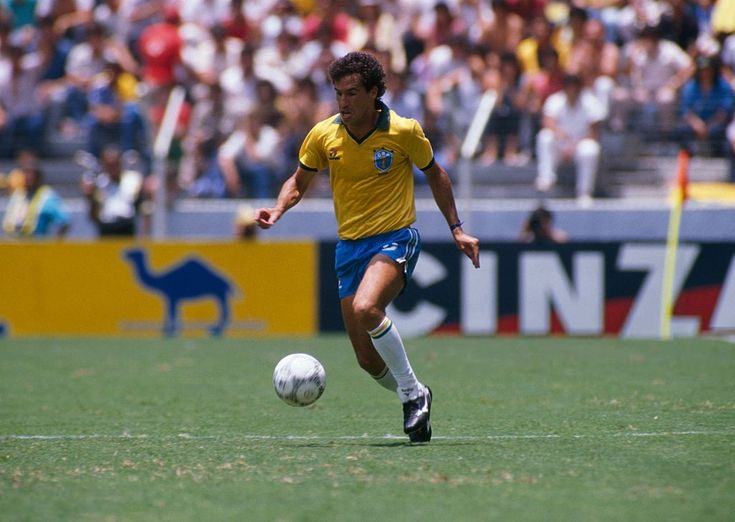 Careca (Brazil) in action during quarter-finals of the 1986 FIFA World Cup against France. After tying the match 1-1, France won in a penalty shoot out 4-3.  June 21, 1986