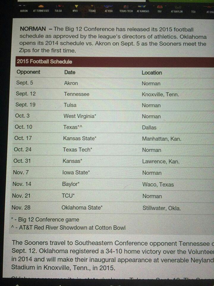 2015 OU Football Schedule