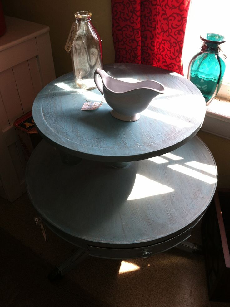 shabby tiered table/chalk painted