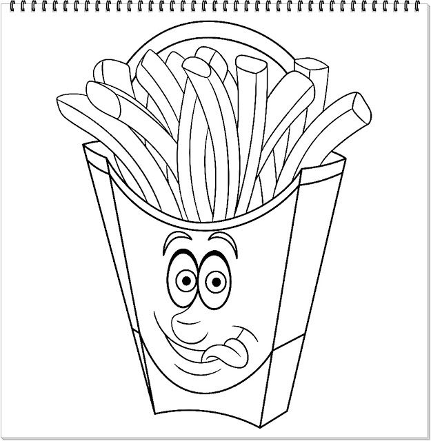 French Fries Character Coloring Page Coloring Page Coloring Pages Kids Coloring Books Color