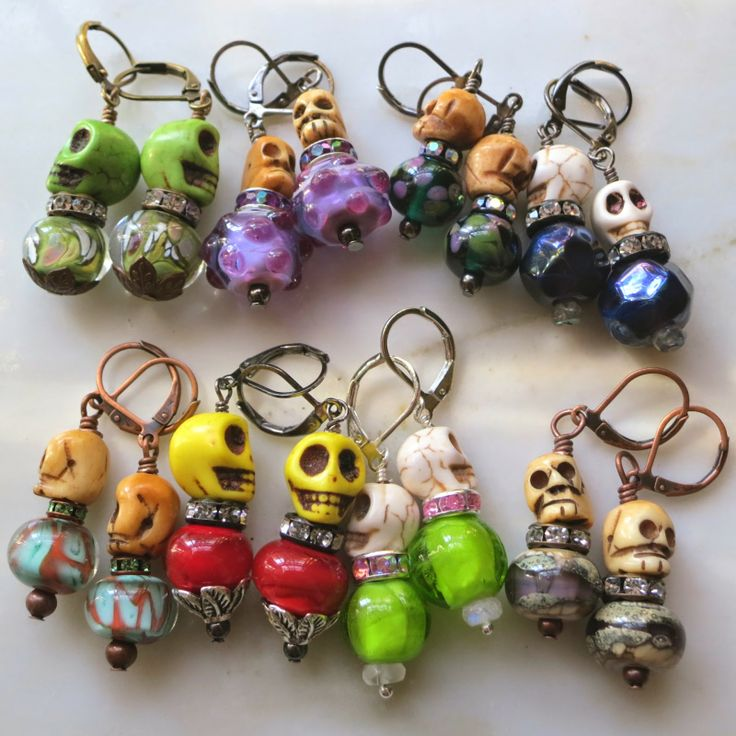 Lucinda Storms : Belvedere Beads - Skull Earrings - lampwork glass, rhinestones, bones skulls, stone skulls, metals