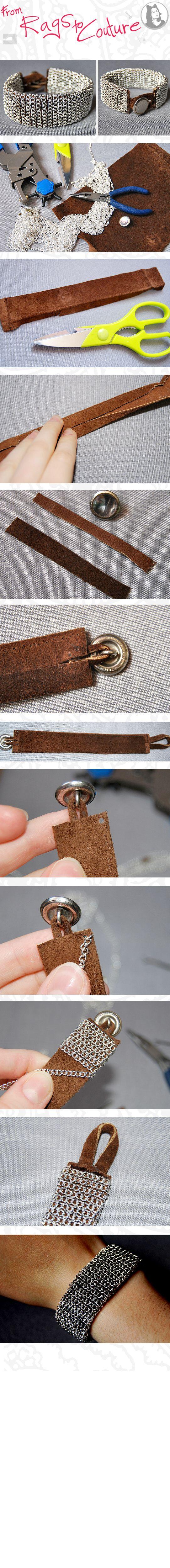 DIY leather bracelet and chain | faidate bracciale in pelle e catenella | davvero bello e semplice!