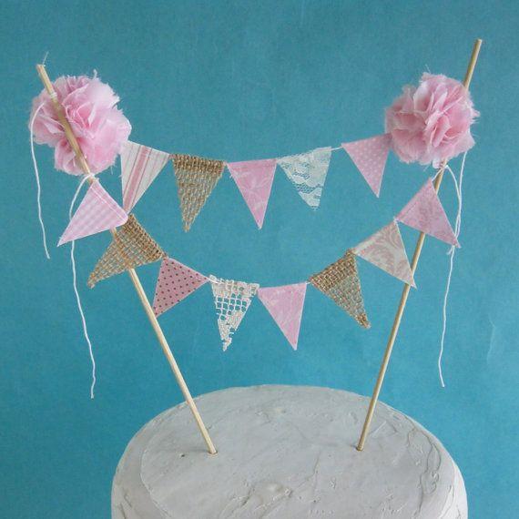 Rustic Cake Topper Burlap Cake Topper Shabby Chic Cake: Shabby Chic Cake Banner, Pink Happy Birthday Cake Topper