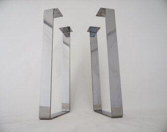 """28 """"x 14"""" gambe del tavolo, gambe per tavoli in acciaio piatto, in acciaio inox altezza 26"""" -32"""" Set(2)"""