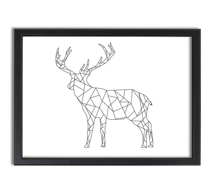 Geometric Purple Deer Wall Art Print Modern Poster Buck: Deer Standing, Geometric, Lines, Abstract, Artistic