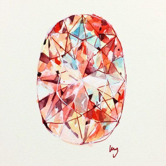 "Orange, Diamond, Original Art, Oval Cut Diamond, Diamond Drawing, Ink, Watercolor, Acrylic, Paper, Small Wall Art, 6""x6"", 15cm x 15cm"