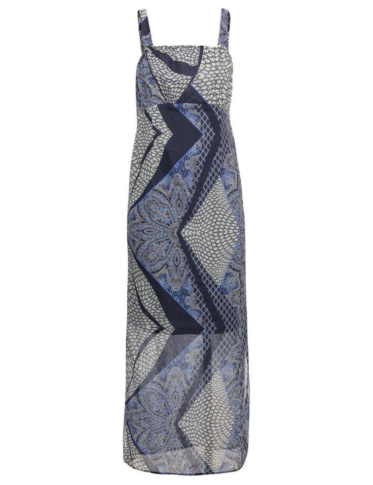 Vergroot - Blauwe maxidress met print