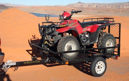 "Northstar® Sportstar I ATV / Utility Trailer Kit by NorthStar. $549.99. Northstar Sportstar I ATV / Utility Trailer Kit... tow your rig with this rugged trailer! Stow your mud-splashing, dirt-gashing ATV in this tough-as-nails multipurpose Trailer! Carry up to 1,000 lbs. of gear, or your half-ton ATV. Features a super-durable steel, black powder-coated frame for years of on-the-road reliability. Tough towing: Ram-tough 12"" wheels with large 6-ply tires; Heavy-duty mesh floor; Sp..."