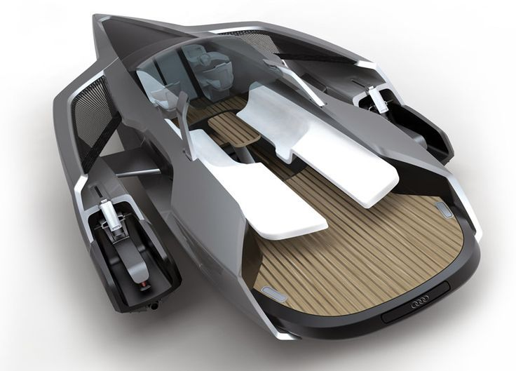 ★ Visit ~ MACHINE Shop Café ★ $ The Audi Trimaran yacht sails with two jet skis on its side pods $