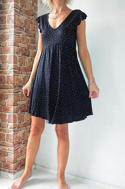 028330e54245cf H&M Mama sukienka granatowa groszki 38 - vinted.pl | dress ...