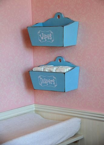 Nursery organization - changing table area. Boxes/baskets, probably diapers and something else, because I'm still in love with the wipes warmer!