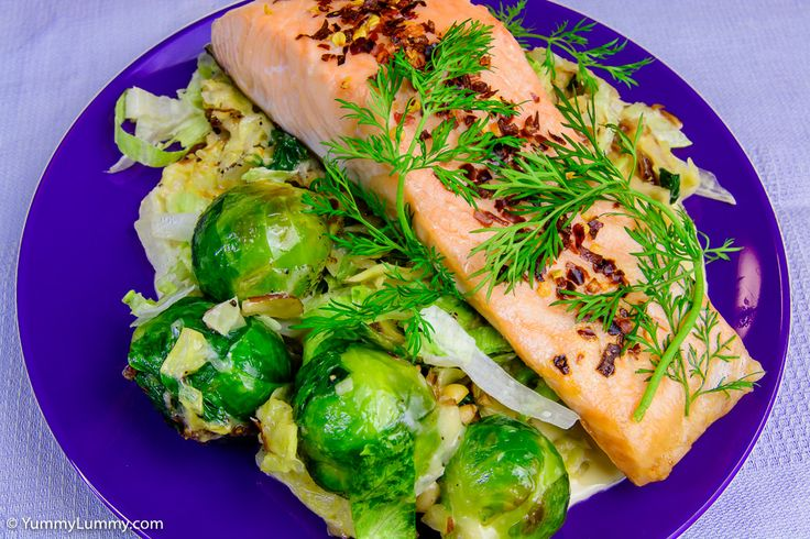 Baked salmon and creamy cabbage with Brussels sprouts