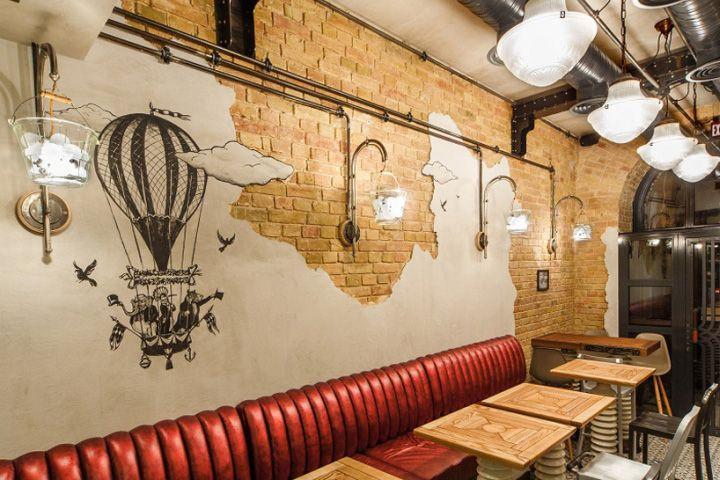 Дизайн проект кафе стимпанк с элементами эклектики в интерьере