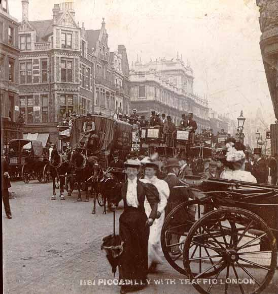 Piccadilly with traffic, London 1889