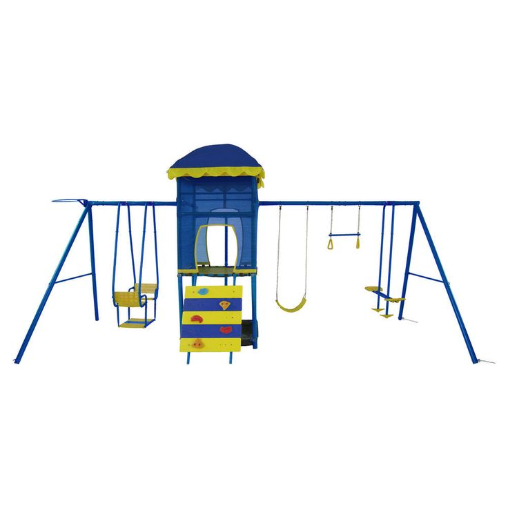 The Action Adventure Tower has plenty of features that will give the kids hours of fun with their friends. It has a fantastic climbing wall, fireman's pole, play fort with a sandpit underneath. Swings include glide ride, trapeze, sling swing, lawn swing and a netball/basketball ring.  $300