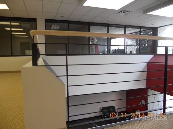 Best Commercial Stair With Wood Handrail And Horizontal Metal 400 x 300